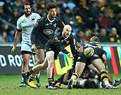 January 7th 2018, Ricoh Arena, Coventry, England;  Aviva Premiership rugby, Wasps versus Saracens;  Dan Robson (Wasps)  passes from the base of a maul to get his three-quarter line moving onto the attack during the Aviva Premiership (Round 13) match between Wasps and Saracens rfc at the Ricoh Stadium