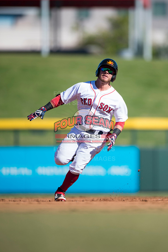 Mesa Solar Sox designated hitter Esteban Quiroz (2), of the Boston Red Sox organization, hustles towards third base for a triple during an Arizona Fall League game against the Peoria Javelinas at Sloan Park on November 6, 2018 in Mesa, Arizona. Mesa defeated Peoria 7-5 . (Zachary Lucy/Four Seam Images)