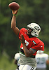 Geno Smith #7, New York Jets quarterback, throws a pass during team training camp at Atlantic Health Jets Training Center in Florham Park, NJ on Friday, Aug. 5, 2016
