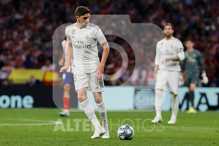 Fede Valverde of Real Madrid during La Liga match between Atletico de Madrid and Real Madrid at Wanda Metropolitano Stadium{ in Madrid, Spain. {iptcmonthname} 28, 2019. (ALTERPHOTOS/A. Perez Meca)