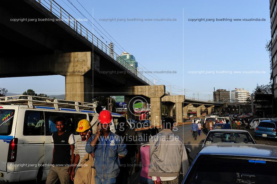 ETHIOPIA, Addis Ababa, construction of light rail network by CREC China Railway Engineering Corporation / AETHIOPIEN, Addis Abeba, Bau einer S-Bahn durch China Railway Engineering Corporation, CREC