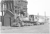 RGS 2-8-0 #42 in front of coaling tower in Durango.<br /> RGS  Durango, CO  Taken by Richardson, Robert W. - 9/11/1952