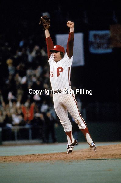 PHILADELPHIA - OCTOBER 21:  Relief pitcher Tug McGraw #45 of the Philadelphia Phillies celebrates after the final out in game six winning the 1980 World Series against the Kansas City Royals at Veterans Stadium on October 21, 1980 in Philadelphia, Pennsylvania.  The Philles won 4-1 and took the series four games to two.  (Photo by Rich Pilling)