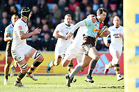 Tim Visser of Harlequins goes on the attack. Aviva Premiership match, between Harlequins and Wasps on February 11, 2018 at the Twickenham Stoop in London, England. Photo by: Patrick Khachfe / JMP