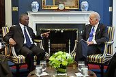Vice President Joe Biden talks with Former President of South Africa Thabo Mbeki during a meeting with members of the African Union High Level Implementation Panel on Sudan, in his West Wing Office at the White House, April 18, 2011. Former President of Nigeria Abdulsalami Abubakar and Former President of Burundi Pierre Buyoya also attended the meeting. .Mandatory Credit: David Lienemann - White House via CNP