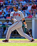 16 September 2007: Atlanta Braves outfielder Andruw Jones in action against the Washington Nationals at Robert F. Kennedy Memorial Stadium in Washington, DC. The Braves shut out the Nationals 3-0 to take the third game of their 3-game series.. .Mandatory Photo Credit: Ed Wolfstein Photo