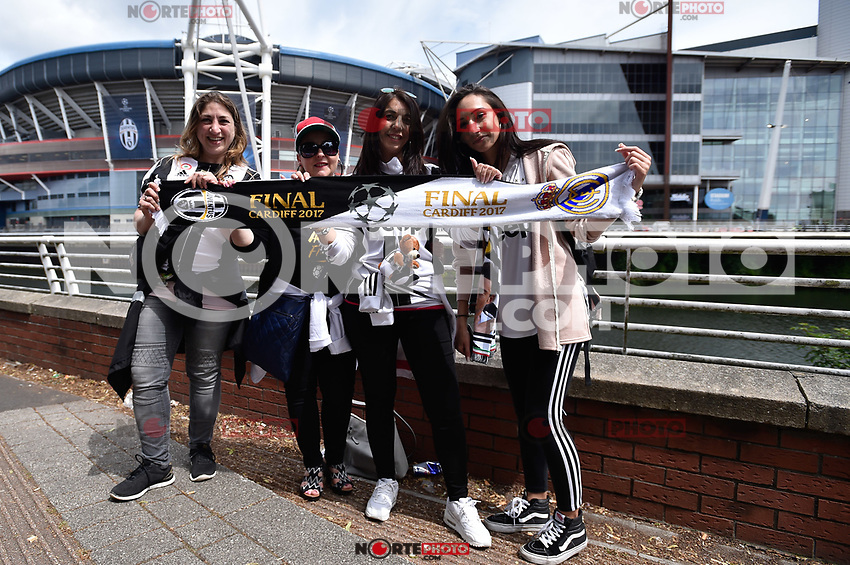 Juventus supporters outside the Millenium Stadium ahead  the UEFA Champions League Final match between Real Madrid and Juventus at National Stadium of Wales, Cardiff, Wales on 3 June 2017. (**Photo by <br />