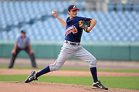 Dylan Cease (26) of Milton High School in Alpharetta, Georgia playing for the Atlanta Braves scout team during the East Coast Pro Showcase on August 2, 2013 at NBT Bank Stadium in Syracuse, New York.  (Mike Janes/Four Seam Images)