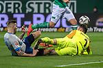 08.03.2019, Weser Stadion, Bremen, GER, 1.FBL, Werder Bremen vs FC Schalke 04, <br /> <br /> DFL REGULATIONS PROHIBIT ANY USE OF PHOTOGRAPHS AS IMAGE SEQUENCES AND/OR QUASI-VIDEO.<br /> <br />  im Bild<br /> <br /> Guido Burgstaller (FC Schalke 04 #19)<br /> Jiri Pavlenka (Werder Bremen #01)<br /> <br /> Foto &copy; nordphoto / Kokenge