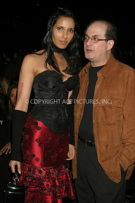 WWW.ACEPIXS.COM . . . . . ....NEW YORK, FEBRUARY 6, 2005 ....Padma Lakshmi and Salman Rushdie at the Luca Luca tent show. ....Please byline: ACE009 - ACE PICTURES.. . . . . . ..Ace Pictures, Inc:  ..Philip Vaughan (646) 769-0430..e-mail: info@acepixs.com..web: http://www.acepixs.com