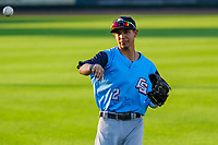 Colorado Springs Sky Sox infielder Mauricio Dubon (2) warms up in the outfield prior to game two of a Pacific Coast League doubleheader against the Iowa Cubs on August 17, 2017 at Principal Park in Des Moines, Iowa. Iowa defeated Colorado Springs 6-0. (Brad Krause/Four Seam Images)
