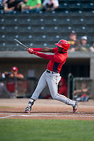 Orem Owlz center fielder D'Shawn Knowles (4) follows through on his swing during a Pioneer League game against the Missoula Osprey at Ogren Park Allegiance Field on August 19, 2018 in Missoula, Montana. The Missoula Osprey defeated the Orem Owlz by a score of 8-0. (Zachary Lucy/Four Seam Images)