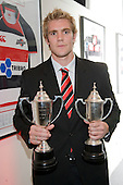 The Counties Manukau Steelers Player of the Year 2008, Andrew Van der Heijden..CMRFU Senior prize giving held at Growers Stadium on Wednesday 22nd of October 2008.
