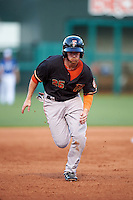 Fresno Grizzles designated hitter Alex Presley (25) running the bases during a game against the Oklahoma City Dodgers on June 1, 2015 at Chickasaw Bricktown Ballpark in Oklahoma City, Oklahoma.  Fresno defeated Oklahoma City 14-1.  (Mike Janes/Four Seam Images)