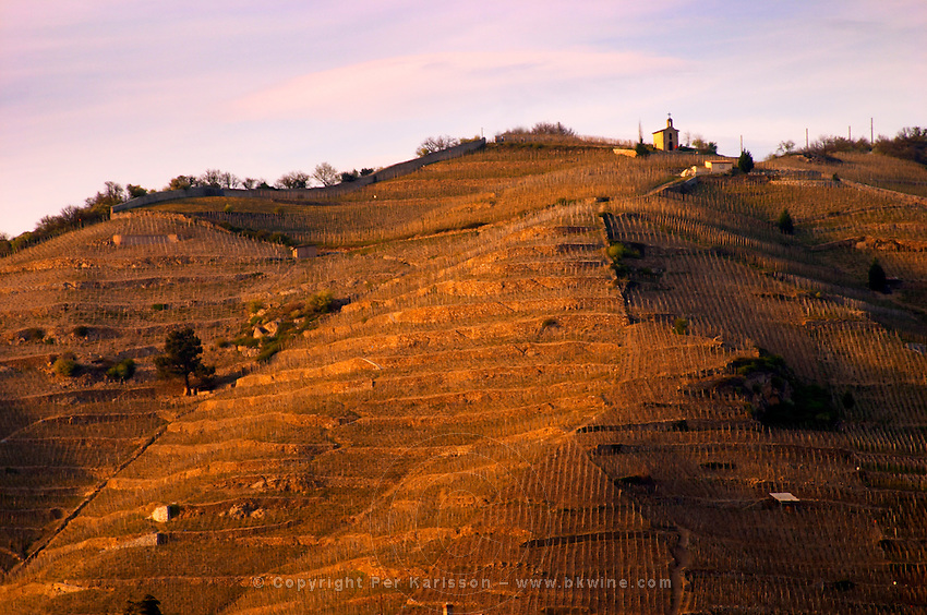 The chapel on top of the hill seen from across the river in Tournon. The Hermitage vineyards on the hill behind the city Tain-l'Hermitage, on the steep sloping hill, stone terraced. Sometimes spelled Ermitage. Tain l'Hermitage, Drome, Drôme, France, Europe