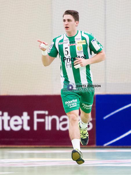Stockholm 2014-12-03 Handboll Elitserien Hammarby IF - IFK Sk&ouml;vde :  <br /> Hammarbys Andreas Halvarsson signalerar f&ouml;r m&aring;l efter ett av sina m&aring;, under matchen mellan Hammarby IF och IFK Sk&ouml;vde <br /> (Foto: Kenta J&ouml;nsson) Nyckelord:  Eriksdalshallen Hammarby HIF Bajen IFK Lugi jubel gl&auml;dje lycka glad happy