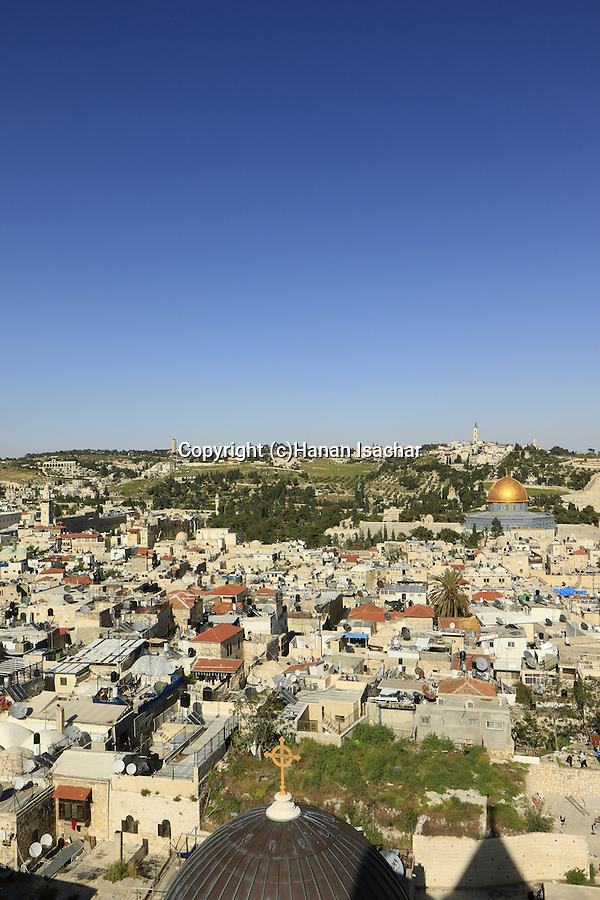 Israel, Jerusalem  Old City, a view of Temple Mount from the bell tower of the Church of the Redeemer, Mount of Olives and Mount Scopus are in the background