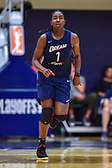 Washington, DC - August 31, 2018: Atlanta Dream center Elizabeth Williams (1) runs the floor during semi finals playoff game between Atlanta Dream and Wasington Mystics at the Charles Smith Center at George Washington University in Washington, DC. (Photo by Phil Peters/Media Images International)