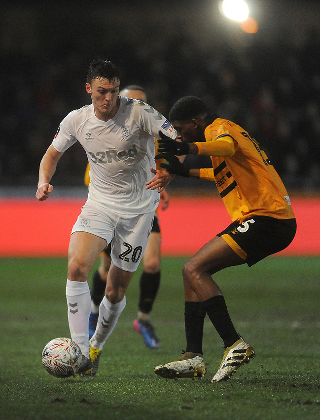 Middlesbrough's Dael Fry is closed down by Newport County's Tyreeq Bakinson<br /> <br /> Photographer Ian Cook/CameraSport<br /> <br /> Emirates FA Cup Fourth Round Replay - Newport County v Middlesbrough - Tuesday 5th February 2019 - Rodney Parade - Newport<br />  <br /> World Copyright © 2019 CameraSport. All rights reserved. 43 Linden Ave. Countesthorpe. Leicester. England. LE8 5PG - Tel: +44 (0) 116 277 4147 - admin@camerasport.com - www.camerasport.com