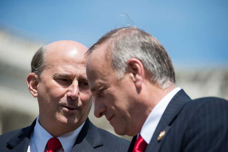 UNITED STATES - MAY 14: Rep. Louie Gohmert, R-Texas, left, and Rep. Steve King, R-Iowa, hold a news conference at the House Triangle on immigration reform on Tuesday, May 14, 2013 . (Photo By Bill Clark/CQ Roll Call)