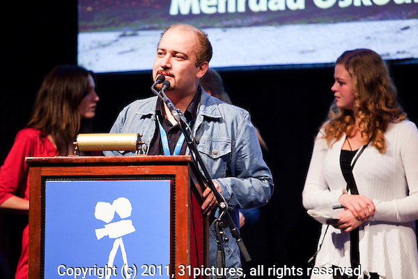 The Netherlands, Amsterdam, 25 November 2011. The Award ceremony International Documentary Film Festival Amsterdam 2011. Mehrdad Oskouei, IDFA DocU Award for 'The Last Days of Winter'. Photo: 31pictures.nl / (c) 2011, www.31pictures.nl