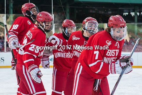 Jordan Greenway (BU - 18), Jakob Forsbacka Karlsson (BU - 23), Patrick Harper (BU - 21), Clayton Keller (BU - 19), Charlie McAvoy (BU - 7) - The Boston University Terriers defeated the University of Massachusetts Minutemen 5-3 on Sunday, January 8, 2017, at Fenway Park in Boston, Massachusetts.The Boston University Terriers defeated the University of Massachusetts Minutemen 5-3 on Sunday, January 8, 2017, at Fenway Park.