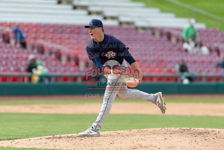 Cedar Rapids Kernels starting pitcher Cole Sands (26) during a Midwest League game against the Kane County Cougars at Northwestern Medicine Field on April 28, 2019 in Geneva, Illinois. Kane County defeated Cedar Rapids 3-2 in game one of a doubleheader. (Zachary Lucy/Four Seam Images)