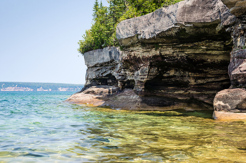 The beautiful cove and rock pillars along the Lake Superior shoreline. Munising, MI