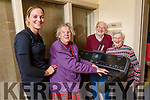 Peggy McCarthy with help from Katie McCabe as she tries out the new Treadmill which was given to the Ballyduff Active Retirement Group, also in the photo is Bob and May Scott at the Centre in Ballyduff on Monday.
