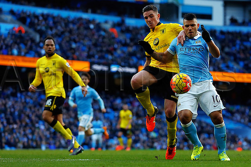05.03.2016. The Etihad, Manchester, England. Barclays Premier League. Manchester City versus Aston Villa. Sergio Aguero of Manchester City battles for the ball