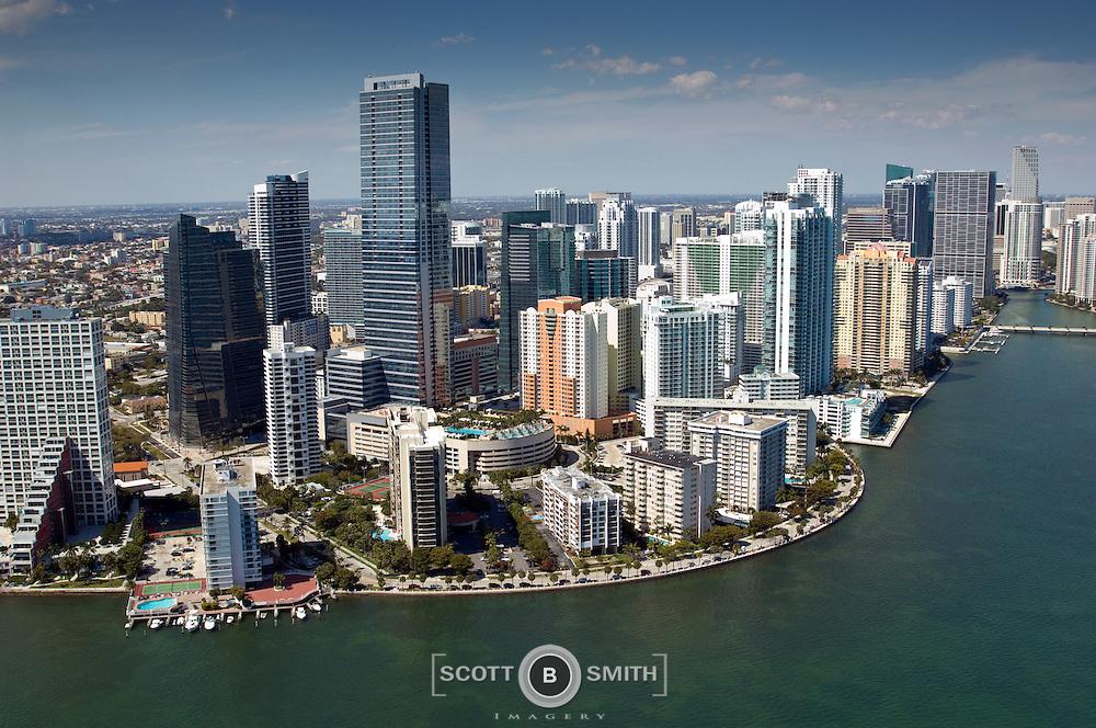Aerial photo of Four Season Hotel and Miami's Brickell