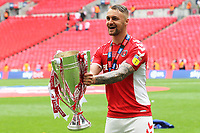 Patrick Bauer, scorer of Charlton's second goal, celebrates with the Play-Off Trophy during Charlton Athletic vs Sunderland AFC, Sky Bet EFL League 1 Play-Off Final Football at Wembley Stadium on 26th May 2019