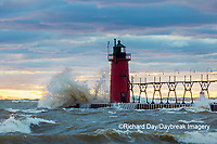 64795-02407 South Haven Lighthouse with high waves crashing South Haven,  MI