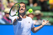 11th January 2018,  Kooyong Lawn Tennis Club, Kooyong, Melbourne, Australia; Priceline Pharmacy Kooyong Classic tennis tournament; Richard Gasquet of France keeps a close eye on the ball whilst playing against Matt Ebden of Australia