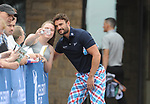 Scotlands Thom Evans with fans <br /> <br /> Golf - Day 1 - Celebrity Cup 2018 - Saturday 30th June 2018 - Celtic Manor Resort  - Newport<br /> <br /> &copy; www.sportingwales.com- PLEASE CREDIT IAN COOKCelebrity Cup 2018<br /> Celtic Manor Resort<br /> 30.06.18<br /> &copy;Steve Pope <br /> Fotowales