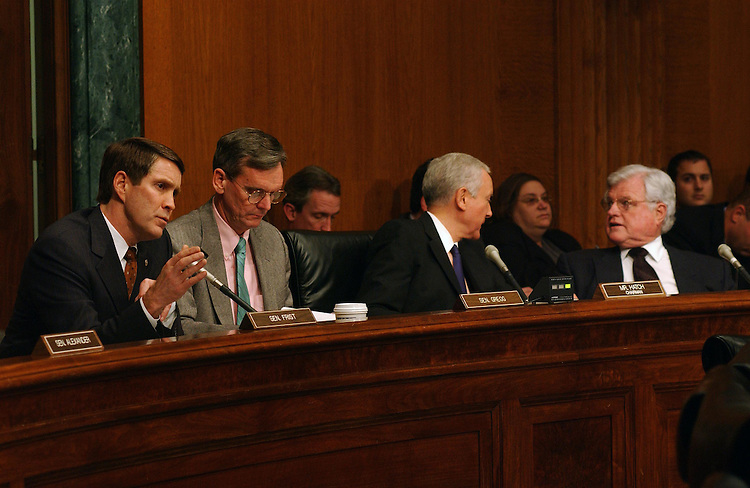 "2/11/03.ROLE OF LITIGATION IN PATIENT ACCESS TO HEALTHCARE--Senate Majority Leader Bill Frist, R-Tenn., Senate HELP Chairman Judd Gregg, R-N.H., Senate Judiciary Chairman Orrin G. Hatch, R-Utah, and Sen. Edward M. Kennedy, D-Mass, during the joint hearing on ""Patient Access Crisis: The Role of Medical Litigation."" .CONGRESSIONAL QUARTERLY PHOTO BY SCOTT J. FERRELL"