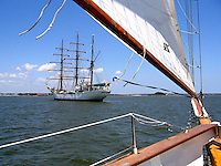 Tall ship, Gloria, crewed by Columbian Navy cadets, photographed from on board the schooner, Pride, in Charleston Harbour, S Carolina, USA, at the confluence of the Cooper and Ashley Rivers, 200705150103.<br />