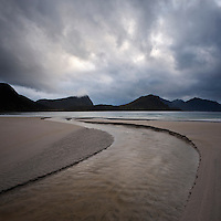 Haukland beach with stormy sky, Vestvagoy, Lofoten Islands, Norway