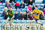 Michael Potts Kerry in action against Colin McNelis Clare in the Munster Minor Quarter Final at Austin Stack Park Tralee on Wednesday night.