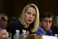 Marissa Mayer, the former Chief Executive Officer of Yahoo, during a hearing entitled 'Protecting Consumers in the Era of Major Data Breaches' before the Senate Commerce, Science, and Transportation Committee on Capitol Hill in Washington, D.C. on November 8th, 2017. Credit: Alex Edelman / CNP /MediaPunch