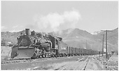 D&amp;RGW #499 with Monarch branch empties departing Salida westbound on 3-rail track.<br /> D&amp;RGW  Salida, CO  Taken by Richardson, Robert W. - 3/23/1950