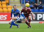 St Johnstone v Motherwell...22.08.15  SPFL   McDiarmid Park, Perth<br /> Dave Mackay and Louis Moult<br /> Picture by Graeme Hart.<br /> Copyright Perthshire Picture Agency<br /> Tel: 01738 623350  Mobile: 07990 594431