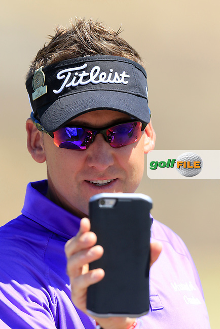 Ian Poulter (ENG) snaps the snappers on the range during Wednesday's Practice Day of the 2015 U.S. Open 115th National Championship held at Chambers Bay, Seattle, Washington, USA. 6/17/2015.<br /> Picture: Golffile | Eoin Clarke<br /> <br /> <br /> <br /> <br /> All photo usage must carry mandatory copyright credit (&copy; Golffile | Eoin Clarke)
