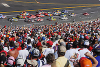 Apr 29, 2007; Talladega, AL, USA; The crowd cheers as Nascar Nextel Cup Series driver Dale Earnhardt Jr (8) takes the lead during the Aarons 499 at Talladega Superspeedway. Mandatory Credit: Mark J. Rebilas