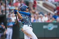 Ogden Raptors left fielder Daniel Robinson (50) follows through on his swing during a Pioneer League game against the Billings Mustangs at Lindquist Field on August 17, 2018 in Ogden, Utah. The Billings Mustangs defeated the Ogden Raptors by a score of 6-3. (Zachary Lucy/Four Seam Images)