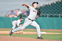 Birmingham Barons pitcher Tony Bucciferro (41) delivers a pitch during a game against the Tennessee Smokies on August 2, 2015 in Kodak, Tennessee. The Smokies defeated the Barons 5-2. (Tony Farlow/Four Seam Images)