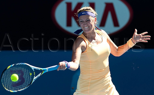 24.01.2013 Melbourne, Australia.    Victoria Azarenka (Bel) hits a Return during her Womens semi final win against Slaone Stephens of the USA and went through to the final