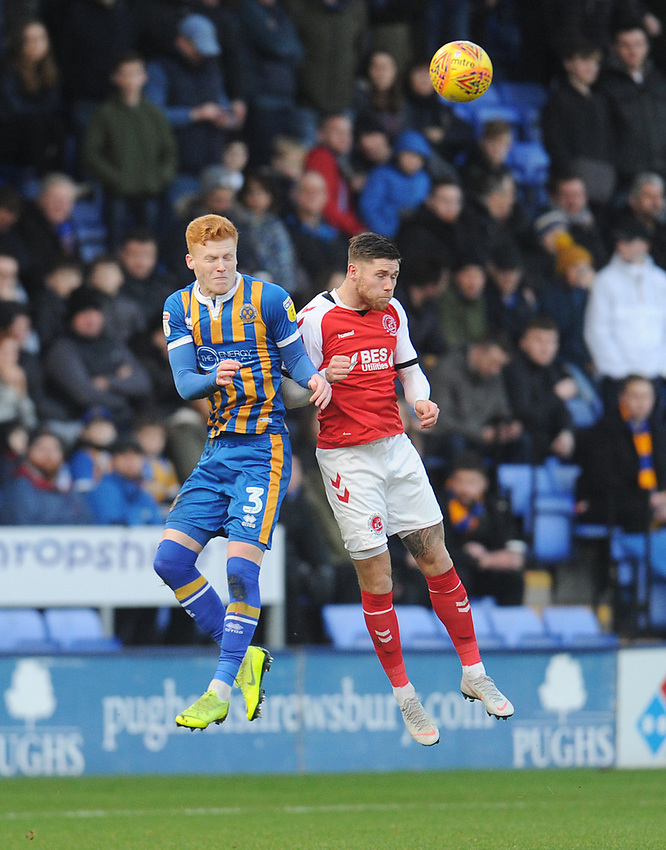Fleetwood Town's Wes Burns vies for possession with Shrewsbury Town's Ryan Haynes<br /> <br /> Photographer Kevin Barnes/CameraSport<br /> <br /> The EFL Sky Bet League One - Shrewsbury Town v Fleetwood Town - Tuesday 1st January 2019 - New Meadow - Shrewsbury<br /> <br /> World Copyright © 2019 CameraSport. All rights reserved. 43 Linden Ave. Countesthorpe. Leicester. England. LE8 5PG - Tel: +44 (0) 116 277 4147 - admin@camerasport.com - www.camerasport.com