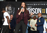 """ONTARIO - DECEMBER 20:  Heidi Androl at  the weigh in for the December 21 fight on the Fox Sports PBC """"Harrison v Charlo"""" on December 20, 2019 in Ontario, California. (Photo by Frank Micelotta/Fox Sports/PictureGroup)"""