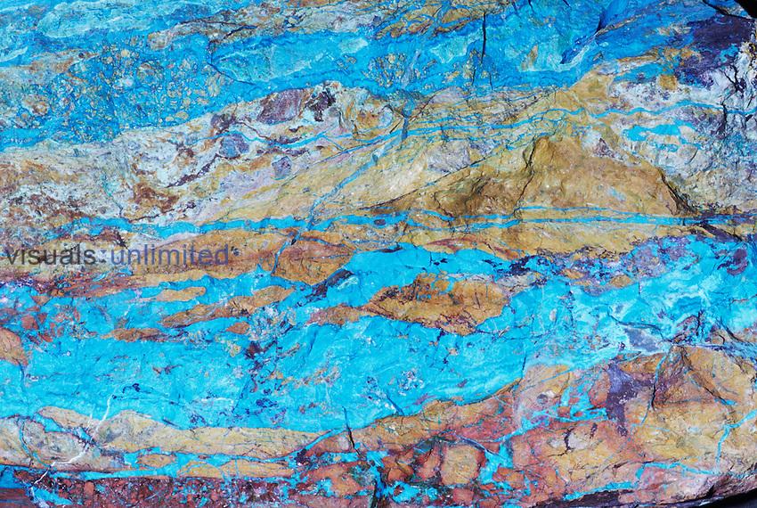 Chrysocolla (CuSiO3.H2O), an ore of Copper, Arizona.